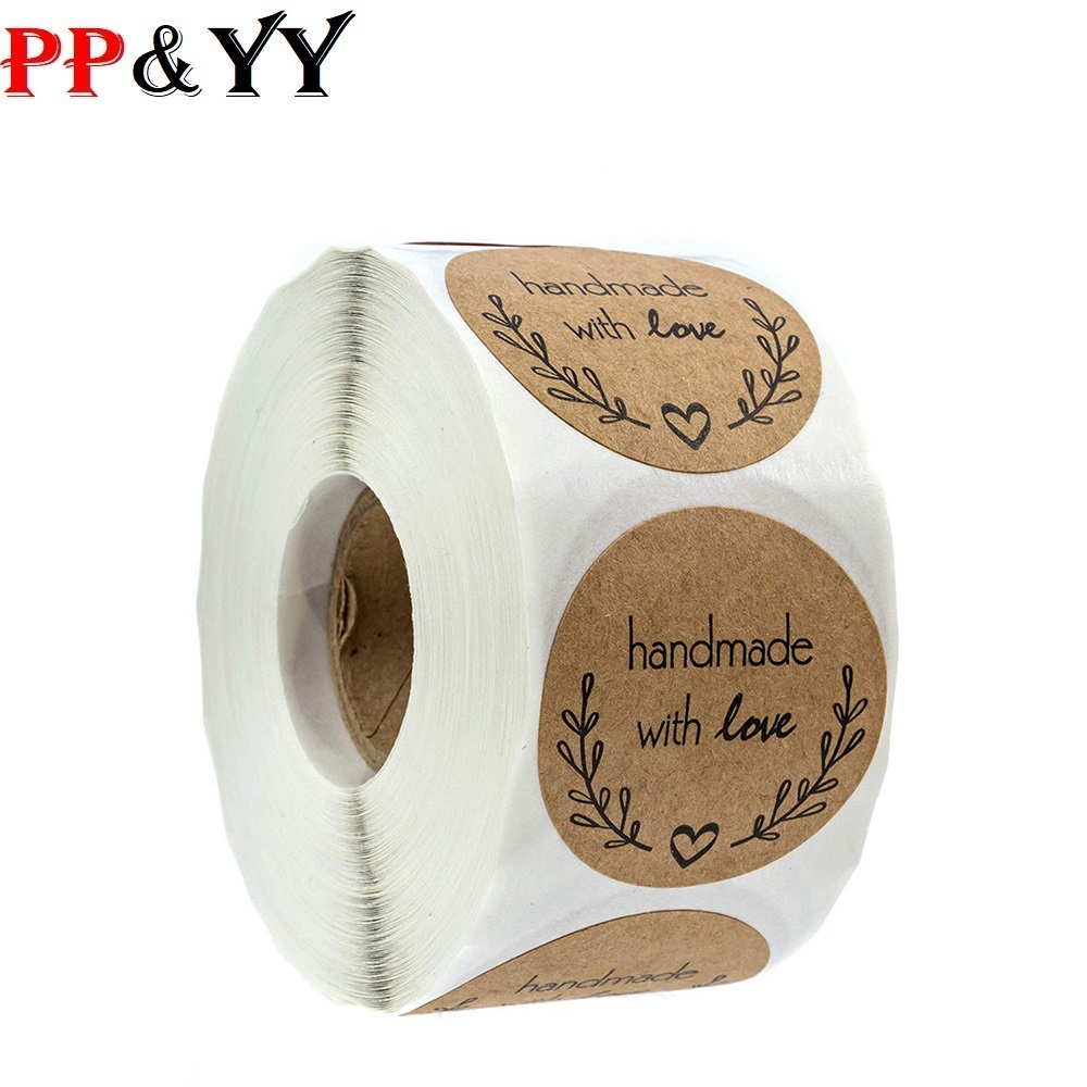 500pcs Handmade With Love Kraft Paper Stickers Round Adhesive Labels Baking 25mm Wedding Decoration Party Decoration Stickers