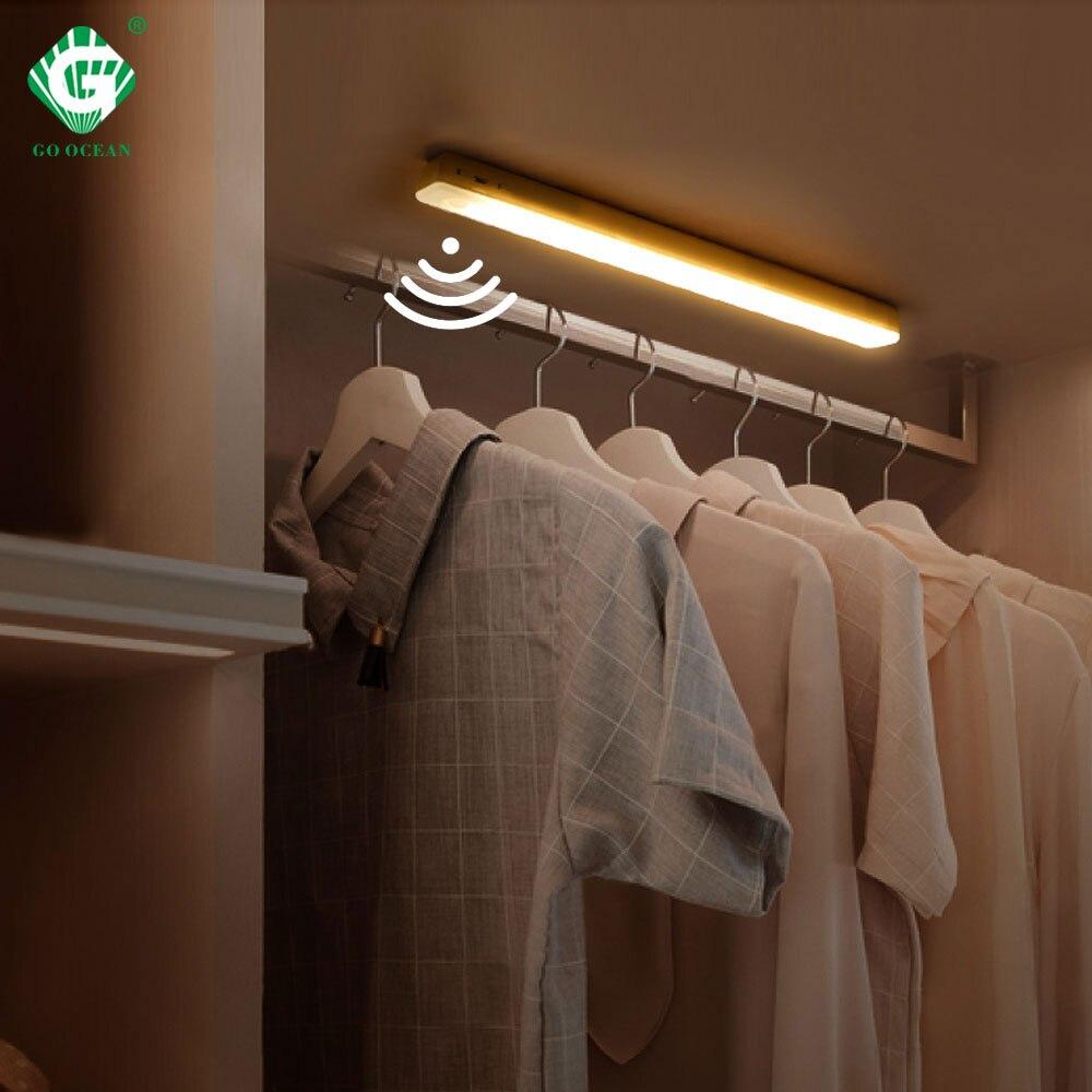 Batterie LED rechargeable par usb sous armoire lumière sans fil PIR capteur de mouvement barre lampe aimant cuisine placard garde-robe veilleuses