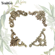 YeahGo European-style carved decoration solid wood corner flower wood carving applique Furniture decorative decals accessories