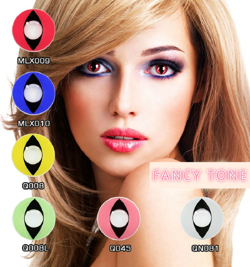 [FANCY TONE]  1 Pair Cat Eye Halloween Contacts Crazy Contact Lens for cosplay Cosmetic Contacts Lenses Eye Color