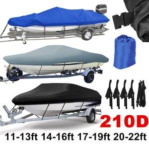 Image 1 - 14 22ft Trailerable 210D סירת כיסוי עמיד למים אפור דגים סקי V גוף Sunproof UV מגן סירת מרוץ סירת עגינה כיסוי d35