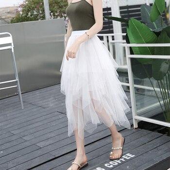 2019 Fashion Elastic High Waist Mesh Tutu Maxi Pleated Long Midi Saias Jupe Women's Skirt Tulle Skirts Womens Faldas Mujer Moda 6
