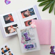 64 photos Album Photo 3 pouces PVC Mini porte-Photo carte de visite sac Instax carte sac paillettes Transparent paillettes porte-carte
