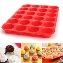 24 cavidade mini muffin silicone sabonete biscoitos cupcake bakeware bandeja bandeja molde de bandeja