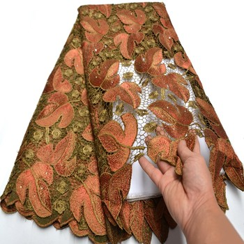 Latest African Guipure Lace Fabric High Quality Big flowers Nigerian French Cord Lace Fabric With Stones For Dress Ki105