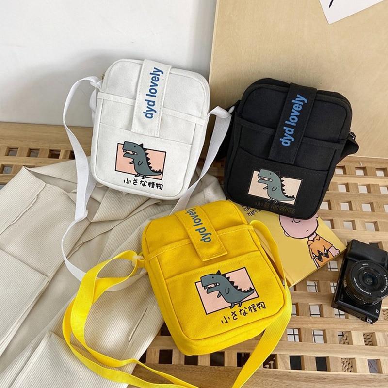 NEW Canvas Cartoon Embroidery Bags Cell Phone Mini Student Bag Crossbody Casual Zipper Flip Shoulder Bag Animals Print Messenger