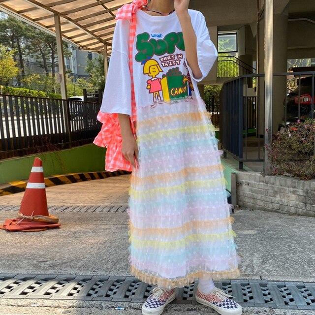 [EWQ] 21 New Summer 1 Elegant Temperament White O Neck Cartoon Print Lace Polka Mesh Dot Stitching Dress Women 16F1207 5