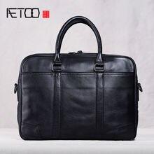 Мужские повседневные сумки aetoo кожаные портфели Кожаные Деловые
