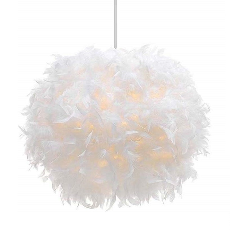 White Feather Pendant Light Lampshade Hanglamp Pendant Lamp Nordic Dining Room Kitchen Home Light Hanging Lamp