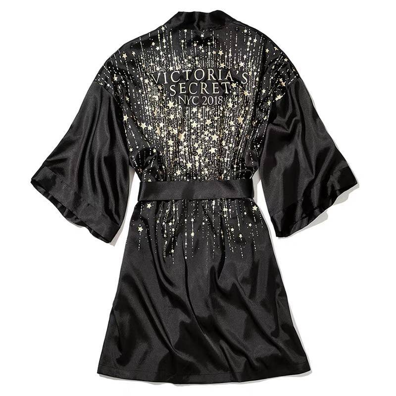 Dyeansee Black Short Sleepwear Sexy Robe Femme 2020 Silk Robe Satin Peignoirs For Women Bathrobe Plus Size Women Robes Bride