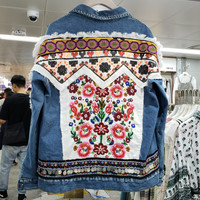 2019 New Autumn Ethnic Wind Denim Jacket Womans Flower Embroidery Nail Pearl Sequined Long Sleeve Jeans Coat Female Jean Jackets
