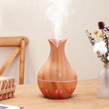 Usb mini umidificador de ar portátil aroma difusor óleo essencial grão madeira led aroma aromaterapia umidificador para escritório em casa