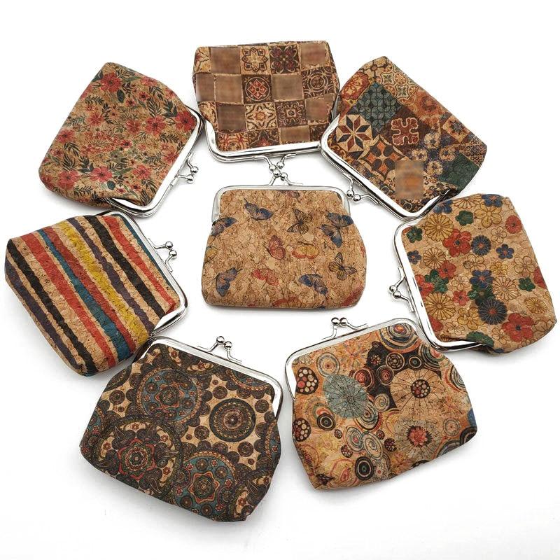KANDRA Mini Real Cork Coin Purse Bag New Ethnic Style Fashion Women's Wood Flower Fantasy Pattern Key Card Holders Wholesal