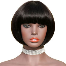 HJ Weave Beauty Short Bob Wig With Bangs Brazilian Straight Hair Full Machine Wigs For Black Women Natural Color Human Hair Wigs(China)