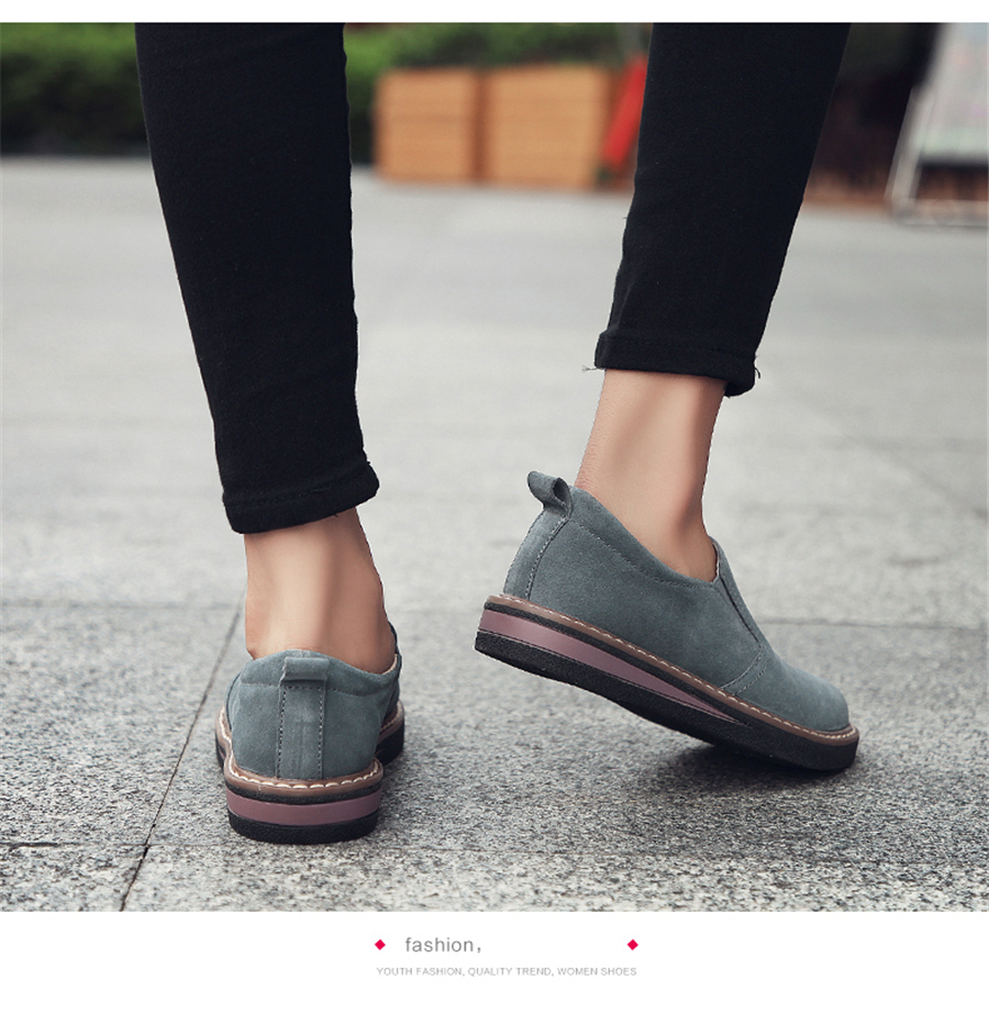 STS BRAND 2019 New Spring Women Flats Sneakers Suede Leather Round Toe Shoes Casual Shoes Women Slip On Flat Loafers Fazz Oxford (16)