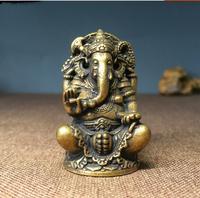 Asien Indien Thailand Greco Buddhistischen HAUSE AUTO Tasche Talisman Schutz Retro bronze Ganesha Gott des reichtums Buddha statue sicher-in Statuen & Skulpturen aus Heim und Garten bei