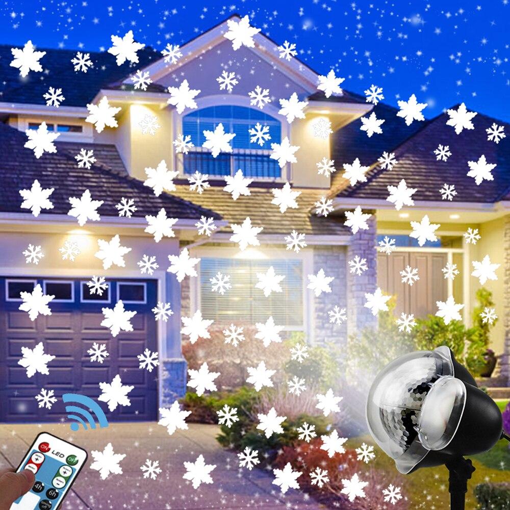 Снегопад СВЕТОДИОДНАЯ Лампа для проектора на Рождество, Хэллоуин, вечерние, тематическая серия с пультом дистанционного управления