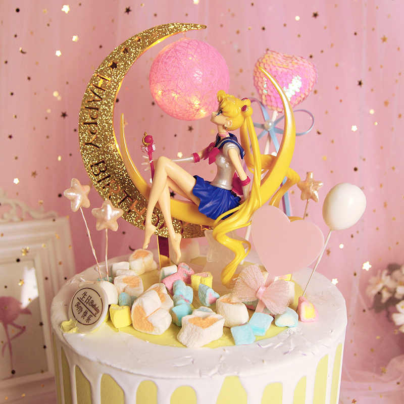 Sailor Moon Anime 8 PCS Action Figure Doll Toy Gift For Kids Cake Topper Decor
