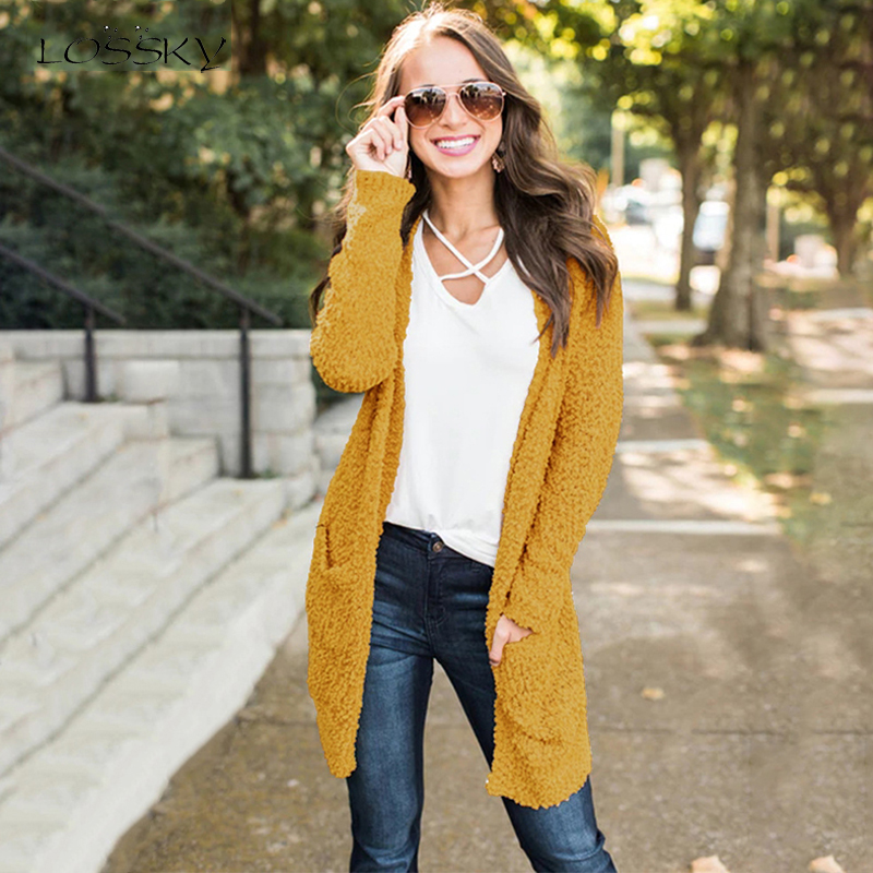 Lossky Women Autumn Winter Knitted Long Sweater Long Sleeve Yellow Cardigans Female Outwear Loose Coats Ladies Clothing Knitwear