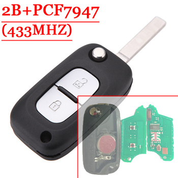 Free shipping 2 Button Remote Flip Key With PCF7947 Chip 433MHZ For Renault Clio(1piece)
