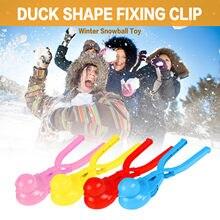 4pc criativo ao ar livre diversão & esportes dos desenhos animados adorável pato em forma de snowball maker clip crianças ao ar livre inverno neve areia molde ferramenta