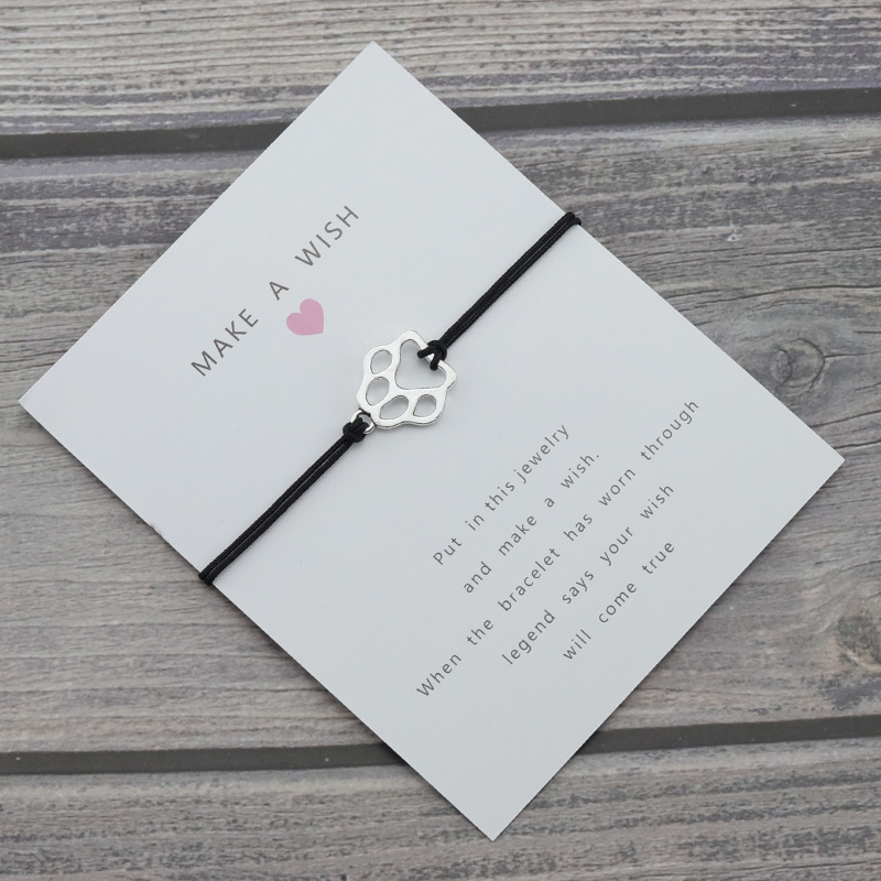Silver <font><b>Paw</b></font> charm Lucky Wish Card Rope Chain Dogs Cats Women <font><b>Bracelet</b></font> for Women Men Best Friendship <font><b>Bracelets</b></font> & Bangles Jewelry image