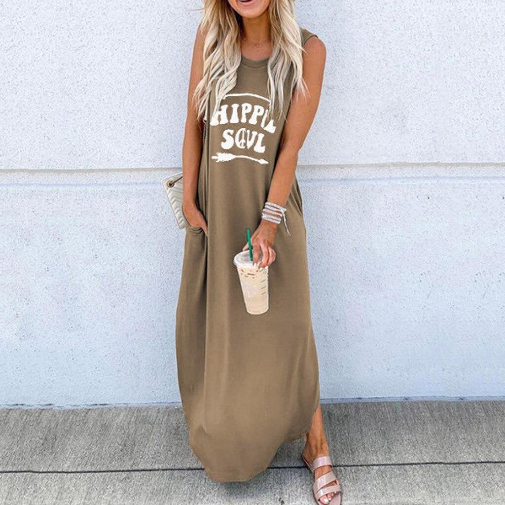 vestido de mujer Fashion Women O Neck Sleeveless Letter Printed Casual Daliy Boho Long Maxi Dress