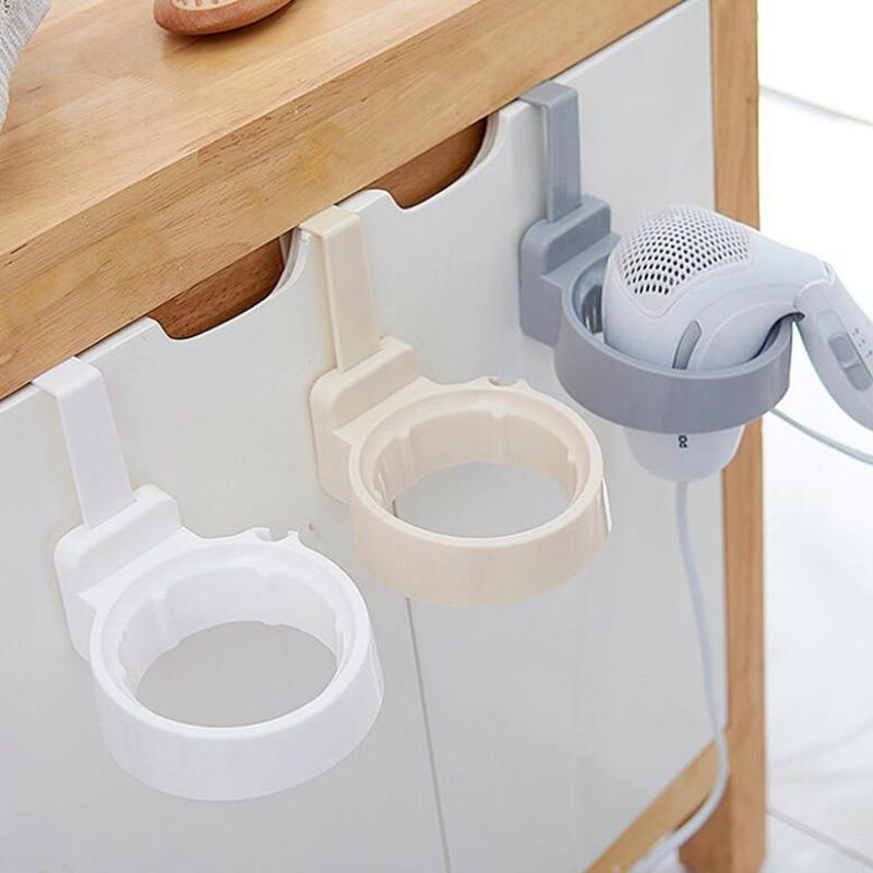 1pcs Bathroom Hair Dryer Stand Organizer Shelf Storage Hairdryer Rack Holder Door Hook Ring Plastic For Home Hotel Dormitory