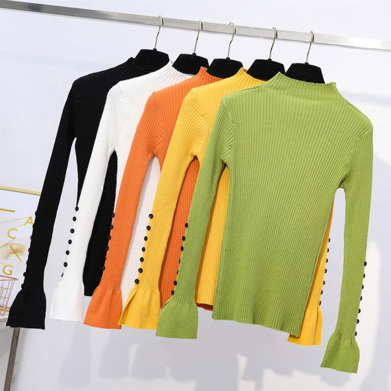 Knit Sweater Women Solid Color Slim Trumpet Sleeve Half-neck Collar Bottoms Sweater Autumn Winter Button Sleeve Sweaters