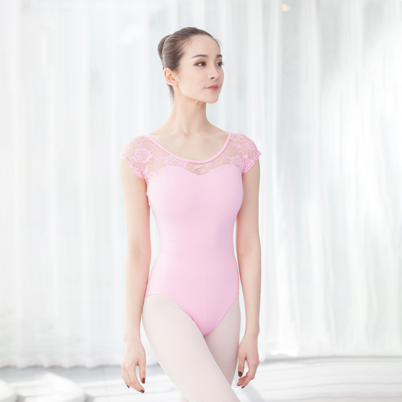 Adult Gymnastic Leotards Girls Classic Short Sleeve Lace Ballet Dance Leotards Bodysuit Cotton Spandex Ballet Leotards for Women