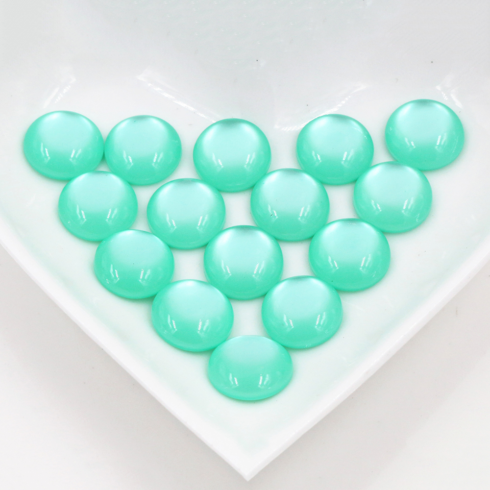 New Fashion 40pcs 12mm Green Color Flat Back Resin Cabochons Cameo  G6-32