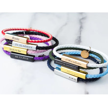 Multicolor Stainless Steel Clasps Braided Rope Genuine Leather Bracelets Personalized Custom Name/Date/Text Charm Bracelets
