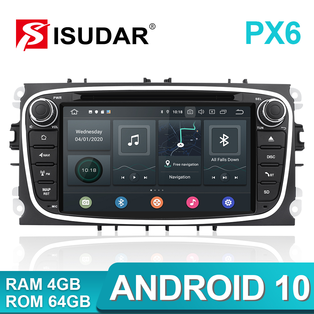 Isudar PX6 2 Din Android 10 Car Radio For FORD/Focus/S-MAX/Mondeo/C-MAX/Galaxy Car Multimedia Player Video GPS USB DVR Camera FM(China)
