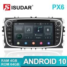 Isudar PX6 2 Din Android 10 Radio samochodowe dla forda/Focus/S MAX/Mondeo/C MAX/Galaxy samochodowy odtwarzacz multimedialny wideo GPS kamera USB DVR FM