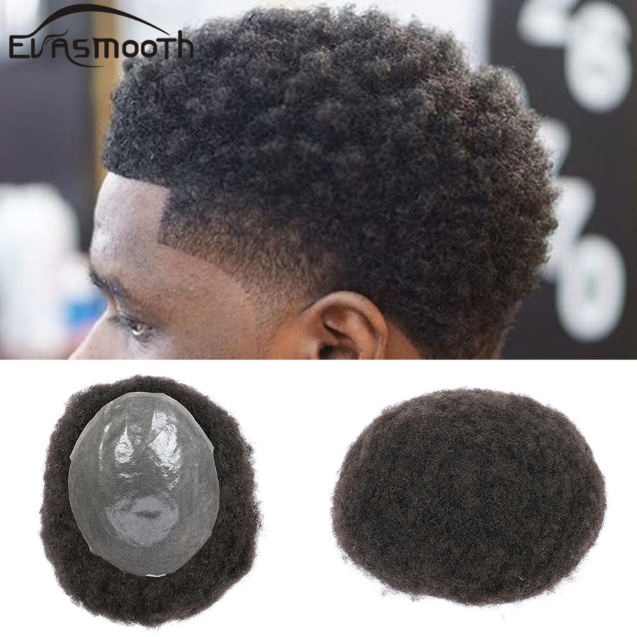 Black Men Toupee Afro Kinky Curly Wig Human Hair Male Hair Natural System Real Hair Pu Hairpiece Hair Toupee For Men Free Shipp