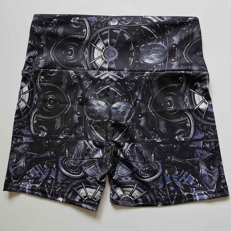 Women Abstract Printed Yoga Shorts Workout High Waist Sports Shorts  Exercise Running Gym Bike Short Cortos Mujer 6