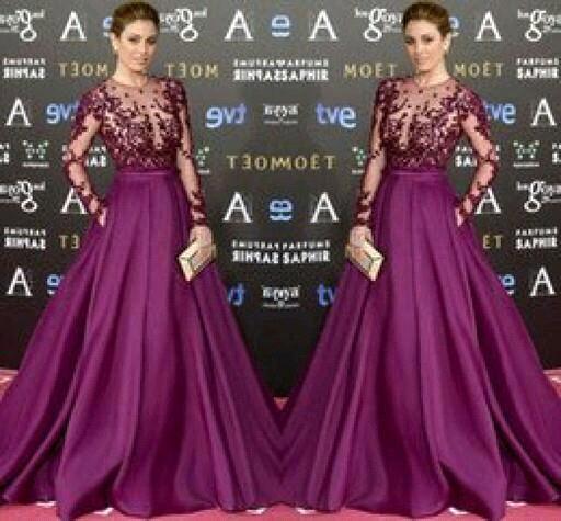Blanca Suarez In Purple Long Sleeve Evening Gowns Louisvuigon Woman Celebrity Dress Red Cerpet Dresses
