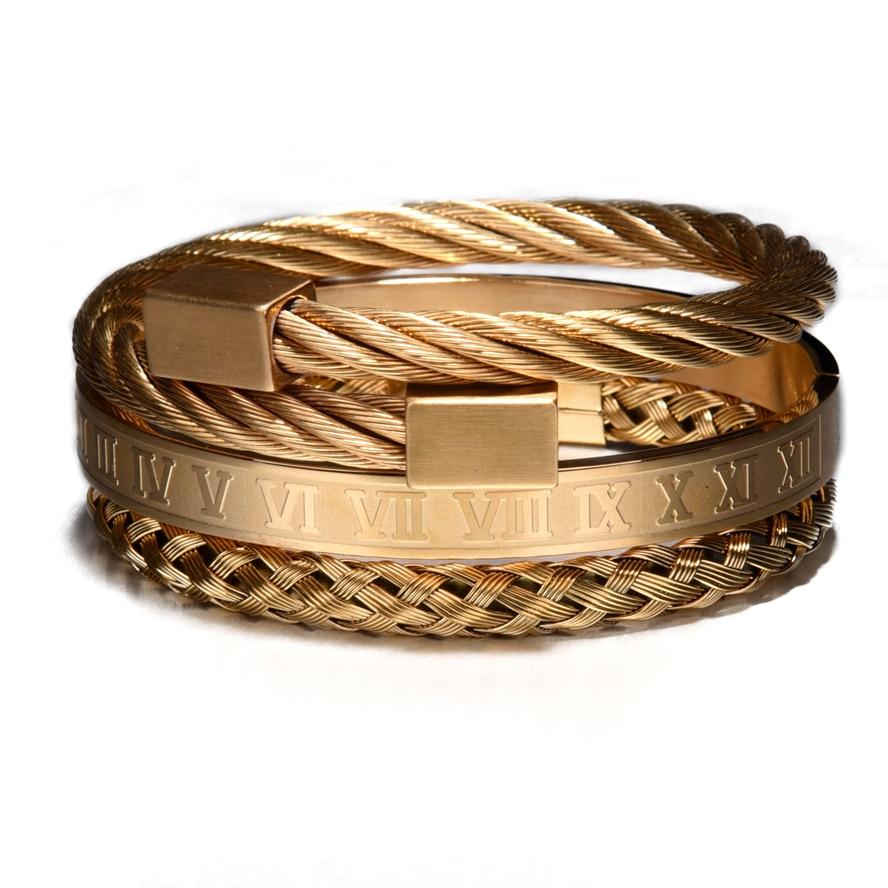 Luxury 3pcs/Set Stainless Steel Bracelet Hip Hop Men Jewelry Roman Number Charm  Gold Color Jewelry For  Men Pulseira Bileklik 25