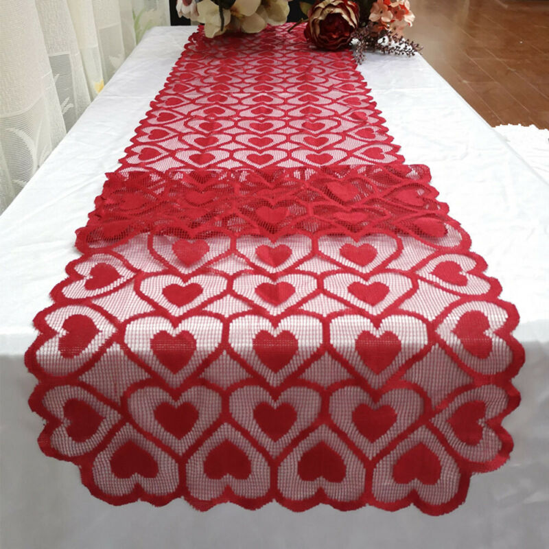 Multi-color Heart Print Tablecloth Table Runner Wedding Dinner Banquet Home Decoration Red Valentines Day Home Decor Festival