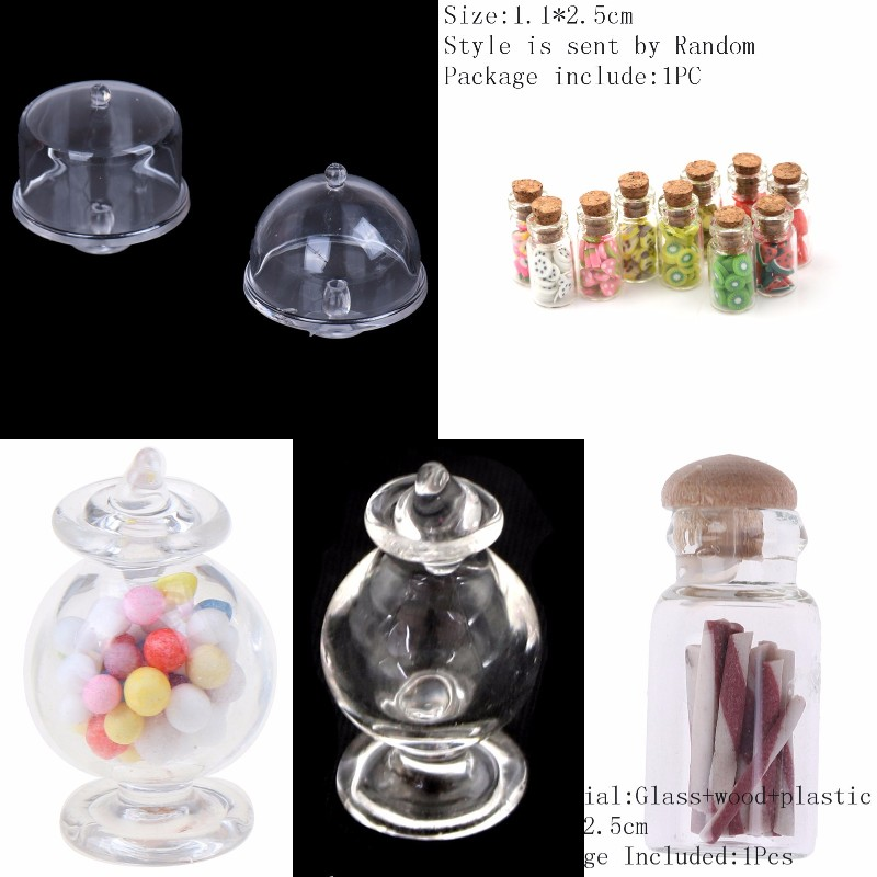 New Arrival 1/12 Scale Dollhouse Miniature Glass Candy Bottle With Cork Home DEcor