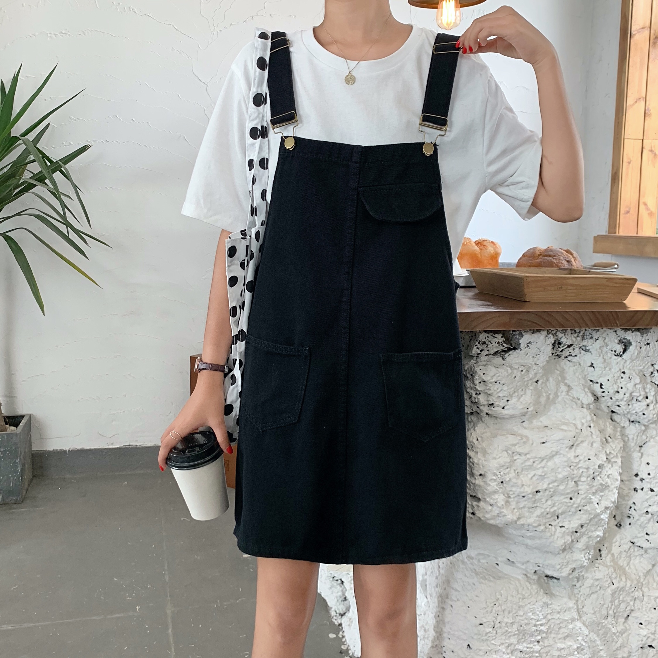 Women Streetwear Straight Loose Jeans Skirt With Suspenders Womens Casual Denim Skirt Black White Preppy Style Overalls Skirts