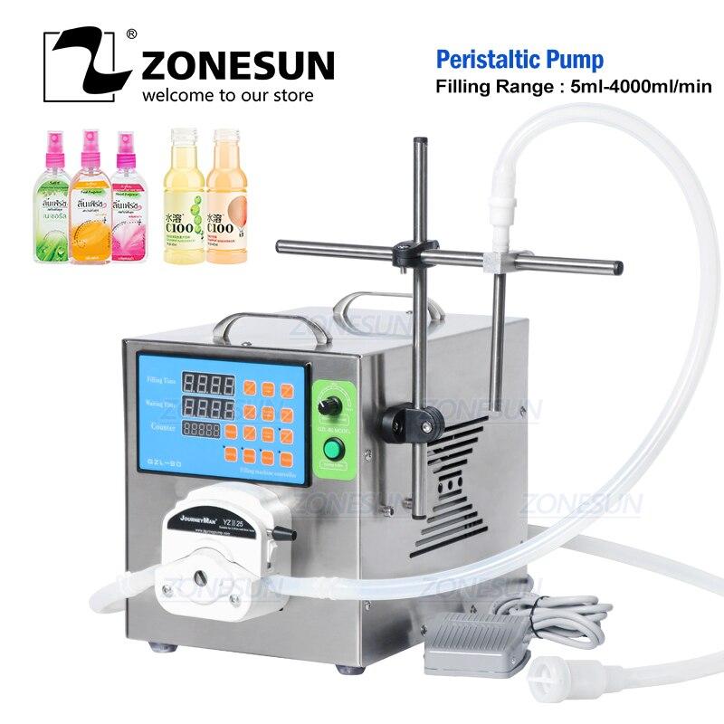 ZONESUN Semi Automatic Peristaltic Pump Detergent Eye Dropper Gel Juice Hand Sanitizer Thick Liquid Filling Machine