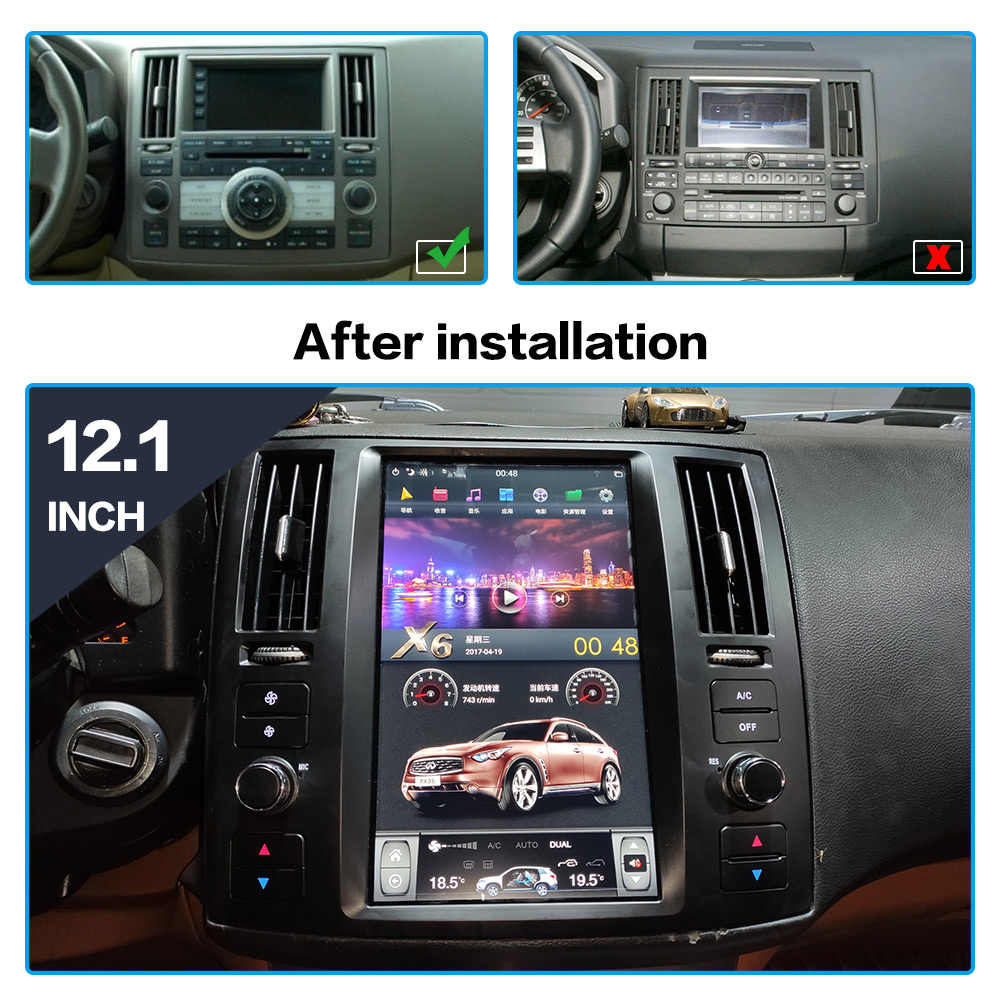 AOTSR Tesla Android 9 PX6 Auto Player Für Infiniti FX35 FX45 2006 - 2009 Auto GPS Navigation DSP Multimedia CarPlay autostereo
