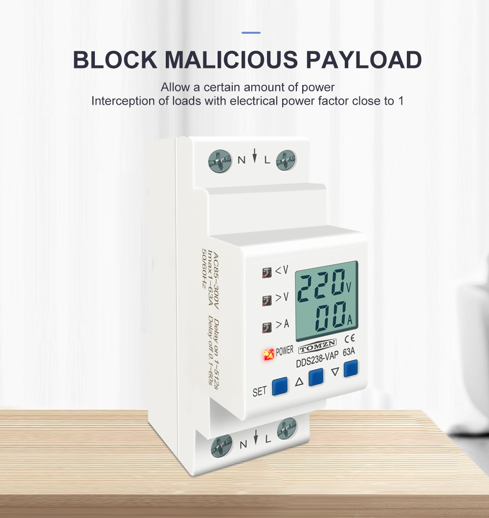 H470f0b2ab71d475698e2c438f588c4d4Y - 63A 80A 110V 230V Din rail adjustable over under voltage protective device current limit protection Voltmeter ammeter Kwh