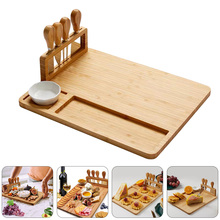 Cheese-Board Knives Cooking-Tools Bamboo Stainless-Steel with Fork Scoop-Cut 1set