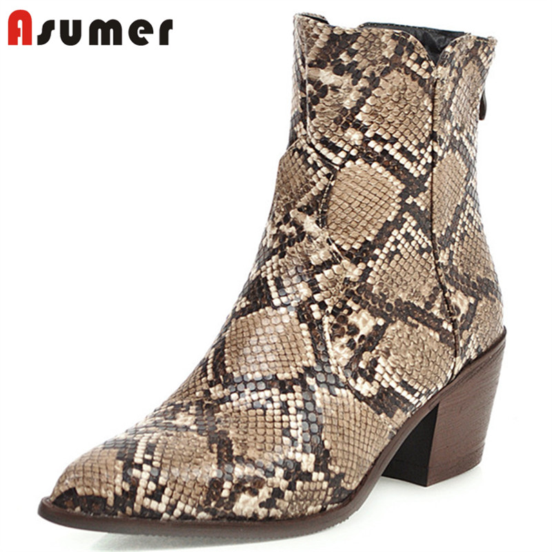 ASUMER 2020 snake pointed toe ankle boots women zip high heels fashion shoes autumn winter cowboy european western boots female