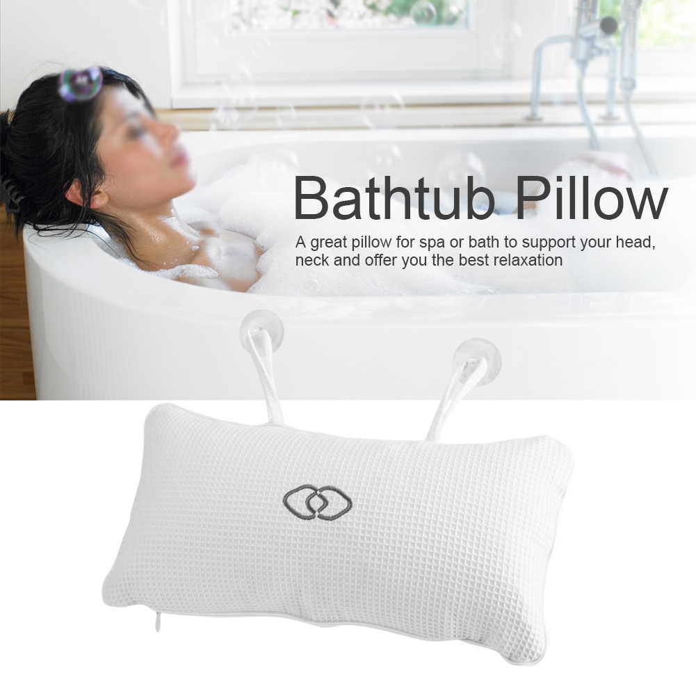 Non-Slip Bathroom Pillow Neck Rest Relax Bathtub Spa Pillows Bath Cushion With Suction Cups Built-In Inflatable Bag Pillow