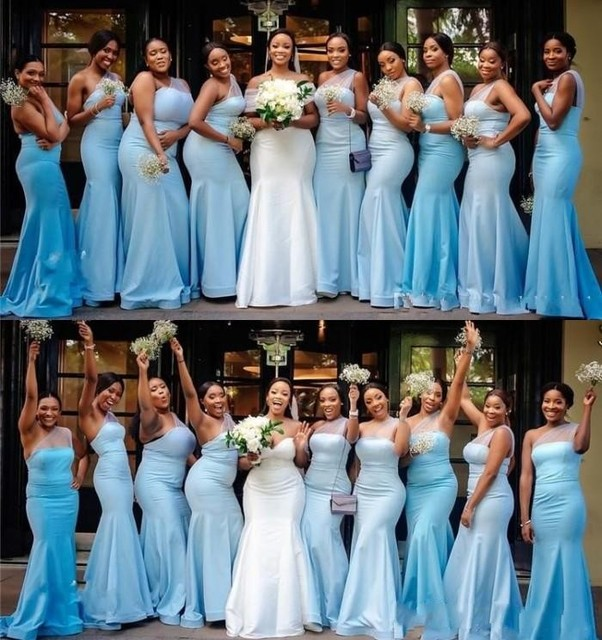 African Cheap Sky Blue Mermaid Bridesmaid Dresses One Shoulder Formal Wedding Guest Dress Plus Size Maid Of the Honor Gowns