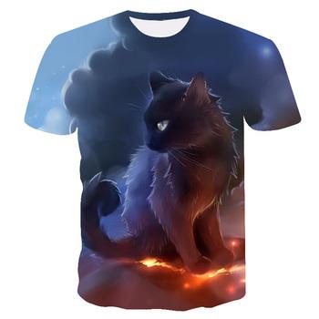 Letnie t-shirty z krótkim rękawem dla dzieci 3D Cat t-shirty z krótkim rękawem dla zwierząt t-shirty dla chłopców koszulki z jednorożcem dla 4T-14Years tanie i dobre opinie PINSHUN Poliester spandex Moda Cartoon REGULAR O-neck Topy Tees Pasuje prawda na wymiar weź swój normalny rozmiar Unisex