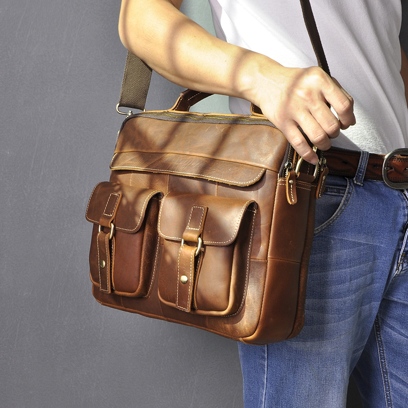 Men Quality Leather Antique Design Business Briefcase 13